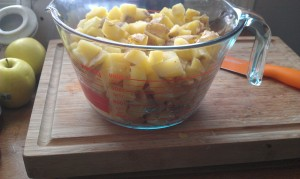 Potatoes - 2 quarts = 8 cups. Boiled, cubed and set aside.